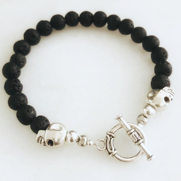 District Gems Other - Handcrafted Men's Skull Lava Rock Toggle Bracelet